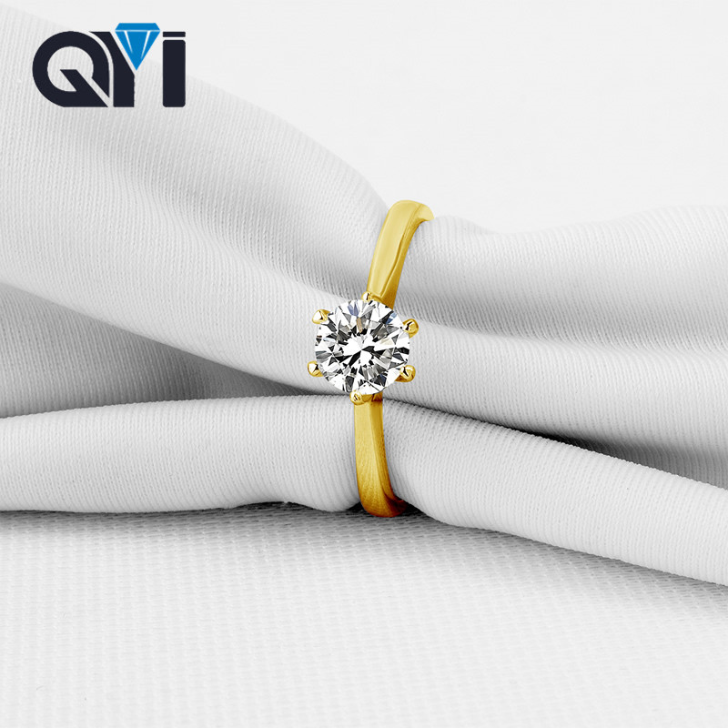QYI Luxury 10K Solid Yellow Gold Halo Engagement Rings Round Cut Cubic Zirconia Jewelry Female Wedding Rings For Women helon cubic zirconia cz solid 10k yellow gold pave prongs setting wedding ring engagement rings for women