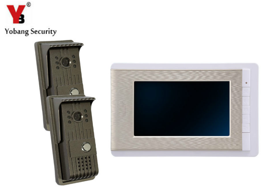 YobangSecurity 7 Inch Video Door Phone Doorbell Video Entry System Intercom Home Security Kit 2 camera 1 monitor Night Vision video doorbell home security 7 inch monitor video door phone video intercom system ir night vision aluminum alloy camera