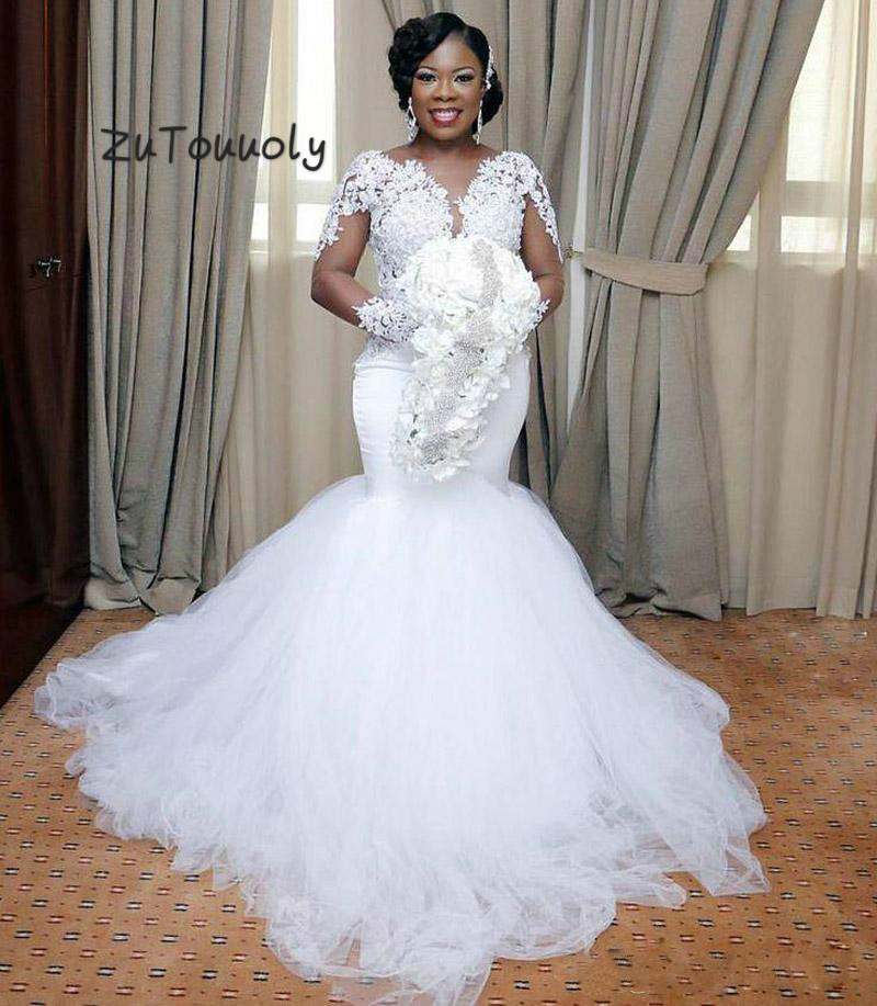 Best New Wedding Dresses Wedding Gowns Best Of Bridal: Plus Size African Mermaid Wedding Dress With Long Sleeves