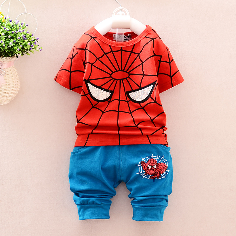 0-4Years Baby Boys Sportswear 2 Pcs Summer Clothes Sets Kids Children Spiderman Printing T-shirts + Shorts Sports Clothing Suit