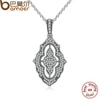 BAMOER Authentic 925 Sterling Silver Sparkling Lace Pendant Necklace Clear CZ Pendant Necklace For Women Fine