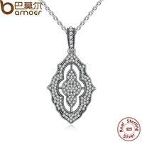 BAMOER Authentic 925 Sterling Silver Sparkling Lace Pendant Necklace Clear CZ Pendant Necklace For Women Fine