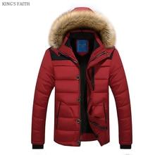 KING'S FAITH Fashion Jacket Men Hooded Winter Warm Cotton Jacket Men Parka Thick Coat Men Fashion Outwear 6692