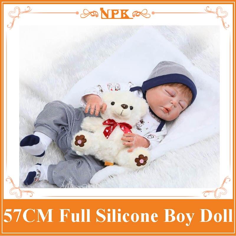57CM NPK Full Body Silicone Baby Reborn Doll Realistic Sleeping Boy Doll With Cute 22 Doll
