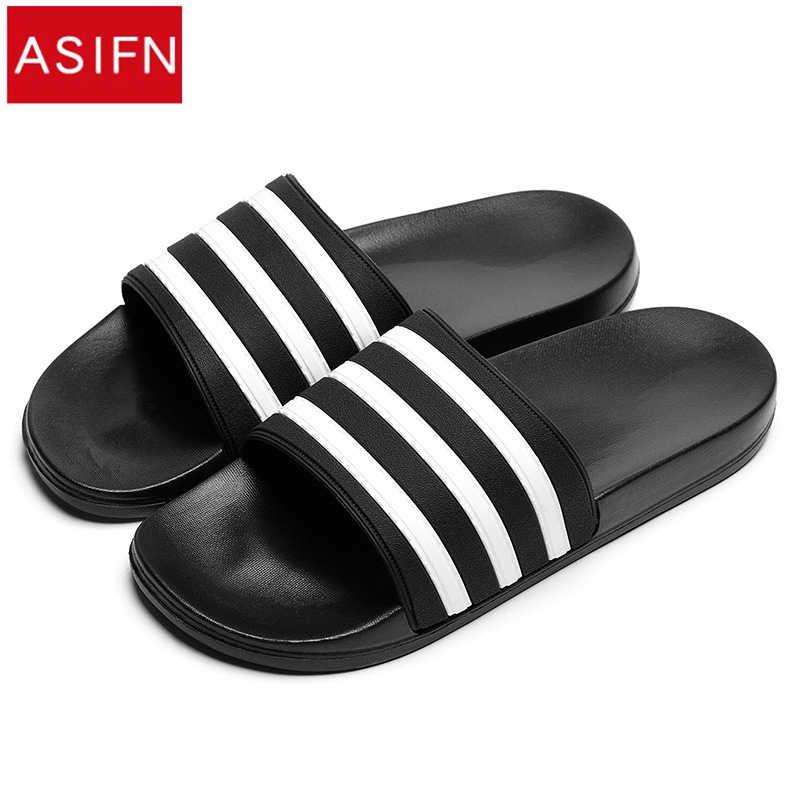 0b1db3ea914b ASIFN для мужчин s шлёпанцы для женщин EVA Мужская обувь пара сланцы мягкие  черные и белые полосы