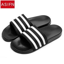 ASIFN męskie kapcie EVA mężczyźni buty kobiety para klapki miękkie czarne białe paski w stylu Casual, letnia mężczyzna Chaussures Femme slajdy
