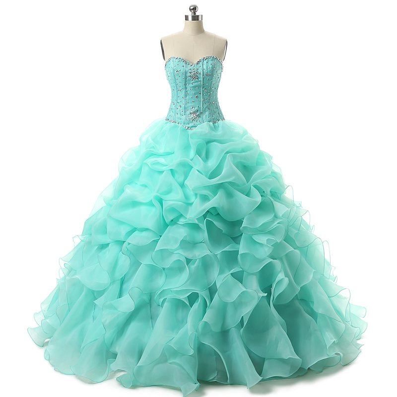 Mint Green Debut Ball Gowns Beading Ball Gown Floor Length Lace Up ...