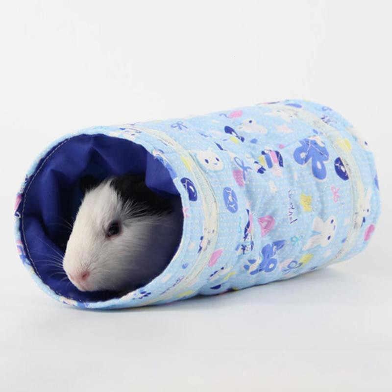 헝겊 단일 채널 친칠라 햄스터 터널 따뜻한 장난감 작은 기니 돼지 햄스터 장난감 튜브 터널 봄 햄스터 케이지 하우스