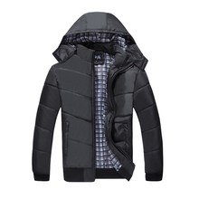 New Down Cotton Clothes Mens Business Leisure Coat Warming and Thickening Hoods Fashion Baitie Comfortable Black 8806