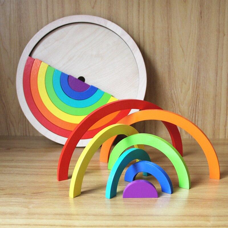 14 pcs/ensemble Coloré En Bois Blocs Jouets Pour Enfants Creative Arc-En-Assemblage de Blocs Jouets Oyuncak Montessori Brinquedos