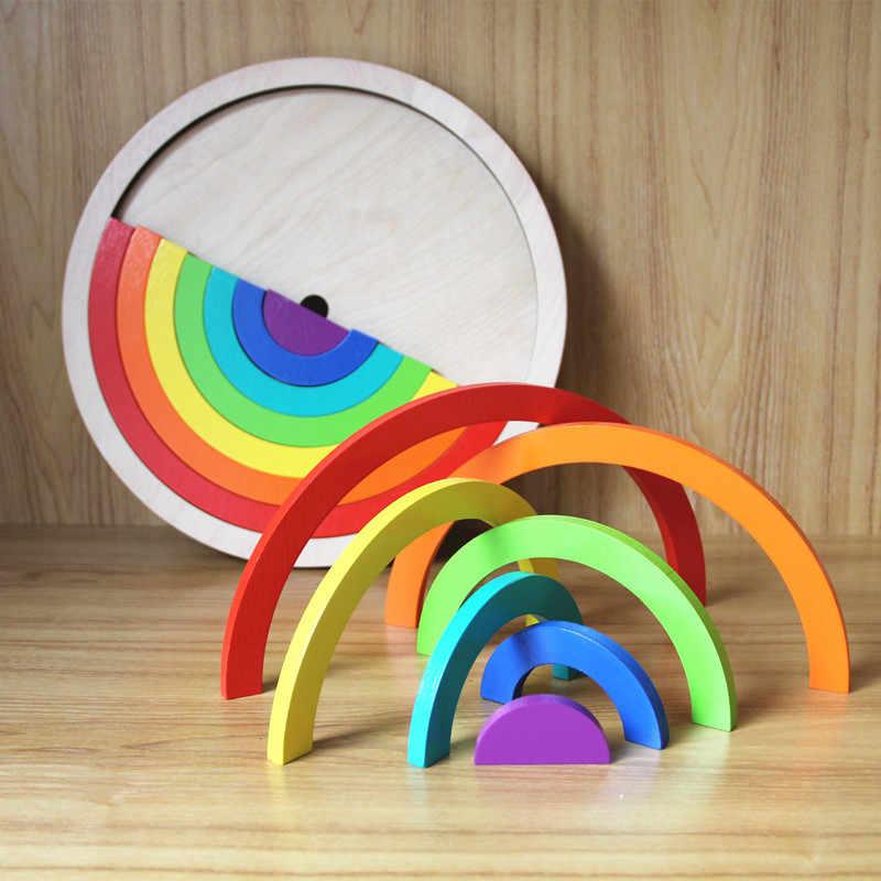 14Pcs/Set Colorful Wooden Blocks Toys For Children Creative Rainbow Assembling Blocks Toys Oyuncak Montessori Brinquedos