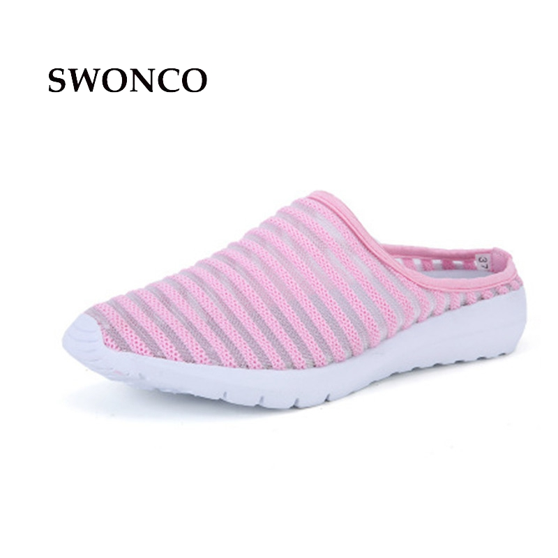 SWONCO Women's Slippers Half Shoes Candy Color Breathable Female Slipper 2018 Woman Slippers Summer Sandals Ladies Beach Shoes swonco women s slippers half shoes candy color breathable female slipper 2018 woman slippers summer sandals ladies beach shoes