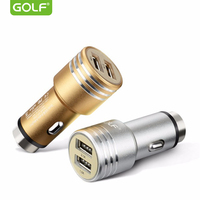 GOLF Metal Safety Hammer Car USB Charger For iPhone 4S 5 6 7 iPad 4 Samsung LG Phone Smart Dual USB Output Port Charging Adapter