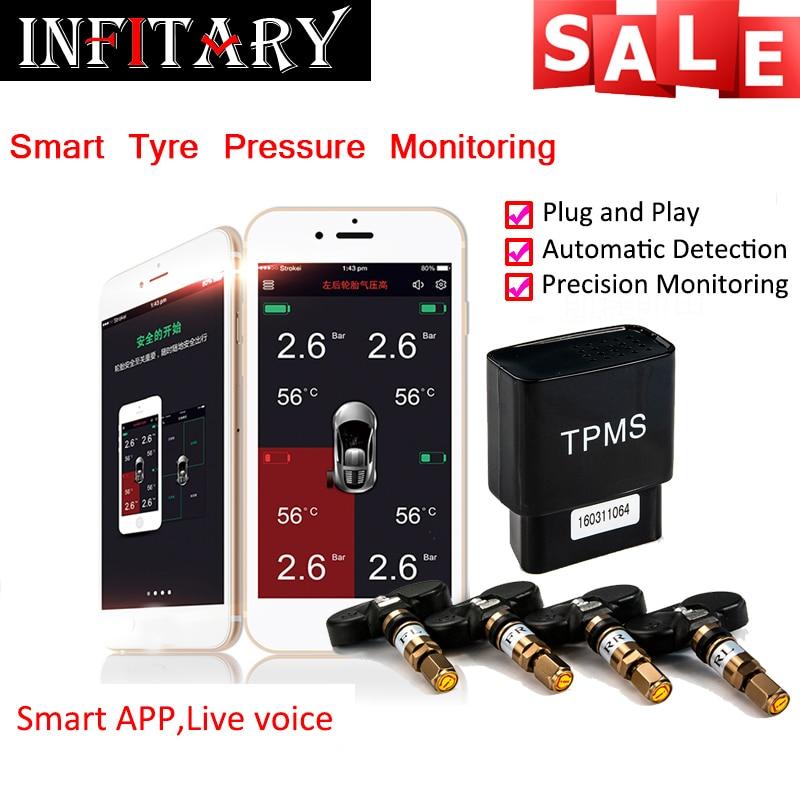 imágenes para 4 sensores internos bluetooth 4.0 pantalla app monitor de alarma de presión de los neumáticos tpms sistema obd interfaz soporte para android iphone teléfono