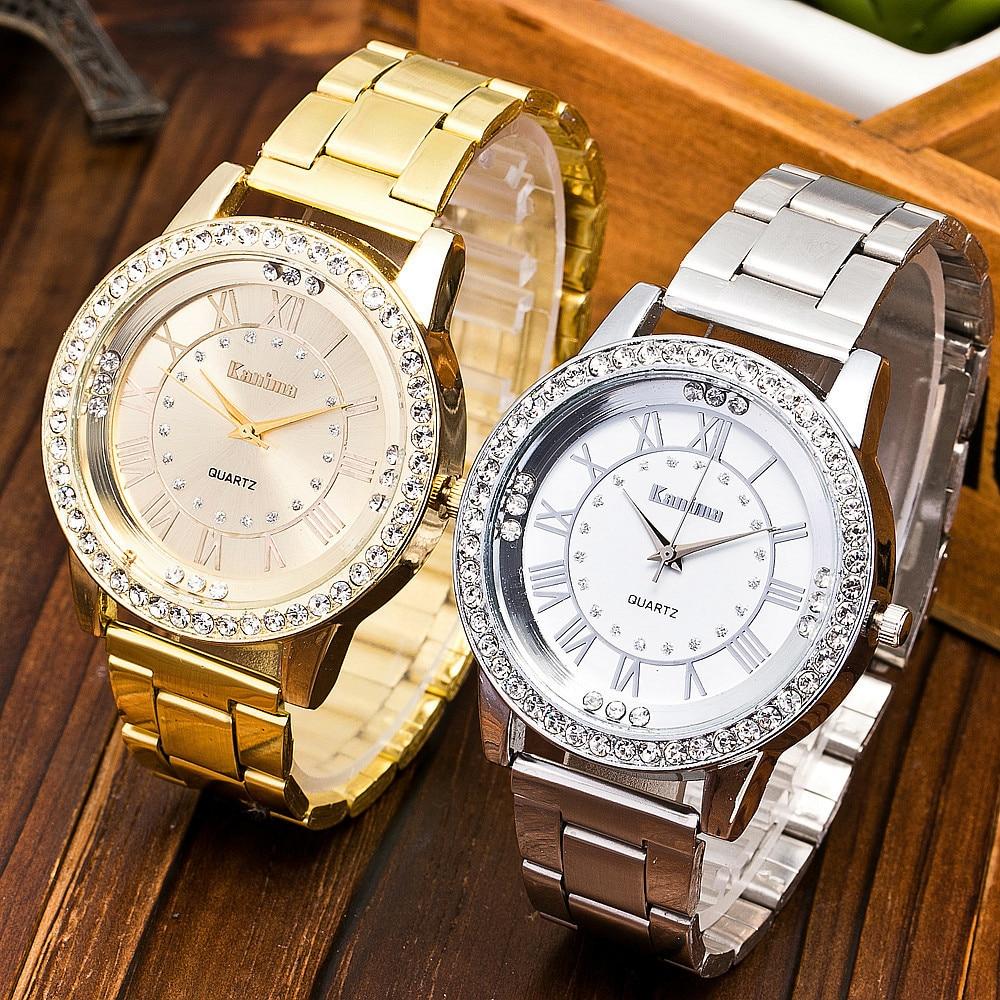 Fashion Luxury Classic Geneva Unisex Watch Stainless Steel Belt Rhinestone Men's And Women Watches Quartz Wrist Watch Clock #A