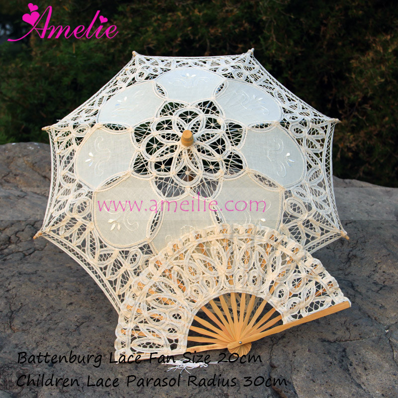 10sets Lot Free Shipping Children s White And Beige Vintage Lace Parasol And Fan