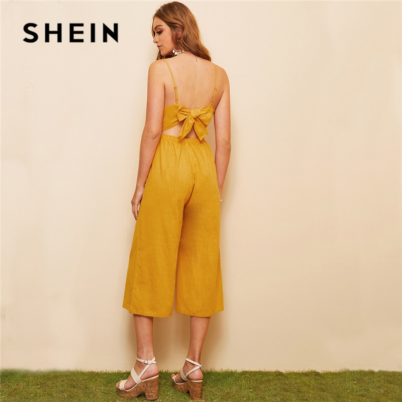 SHEIN Ginger Bow Tie Back Cami Women   Jumpsuit   Summer Boho Casual Sleeveless V Neck Solid High Waist Wide Leg Sexy   Jumpsuit