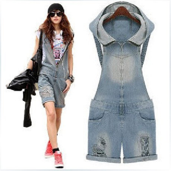 Ladies Plus Size Hole Hooded Dneim HOT Pants Women Shorts Overalls Jeans Braces Bib Shorts Pants Zipper Suspenders SMLXL Size plus size short overalls