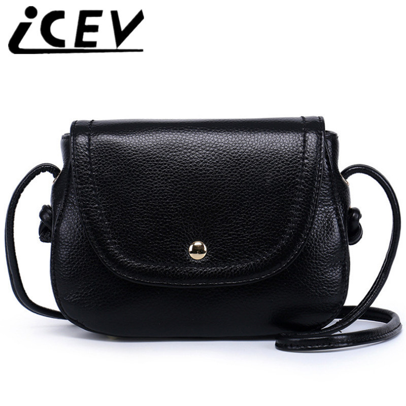 ICEV Simple Casual Small Cow Leather Designer Handbags High Quality Bags of Famous Brand Women Messenger Bag Ladies Shoulder Sac icev luxury designer high quality patent split leather women s handbags famous brands lace embroidery messenger bag ladies tote