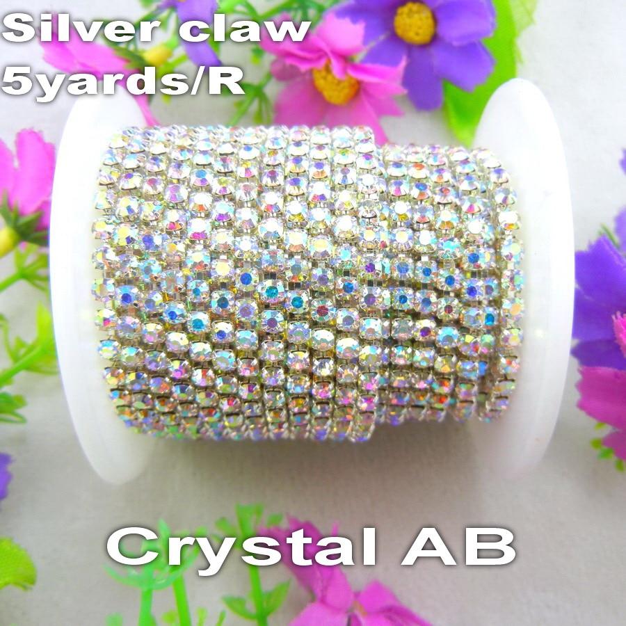 Заводская Распродажа 5 ярдов/R высокой плотности Crystal AB прозрачный цвет горный хрусталь серебро база закрыть цепочка со стразами пришить клей на для ремесла diy