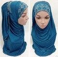 Мусульманин горный хрусталь хиджаб джерси шарф хиджабы whinstone shawl beautiful diamante шарф