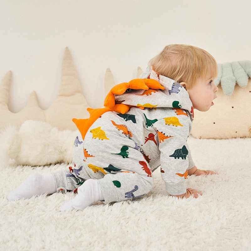 Kids Newborn Hooded Musim Semi Musim Gugur Romper Jumpsuit Anak Bayi Balita Anak 0-18 M Overall Baru Lahir Dinsour bebes Pakaian