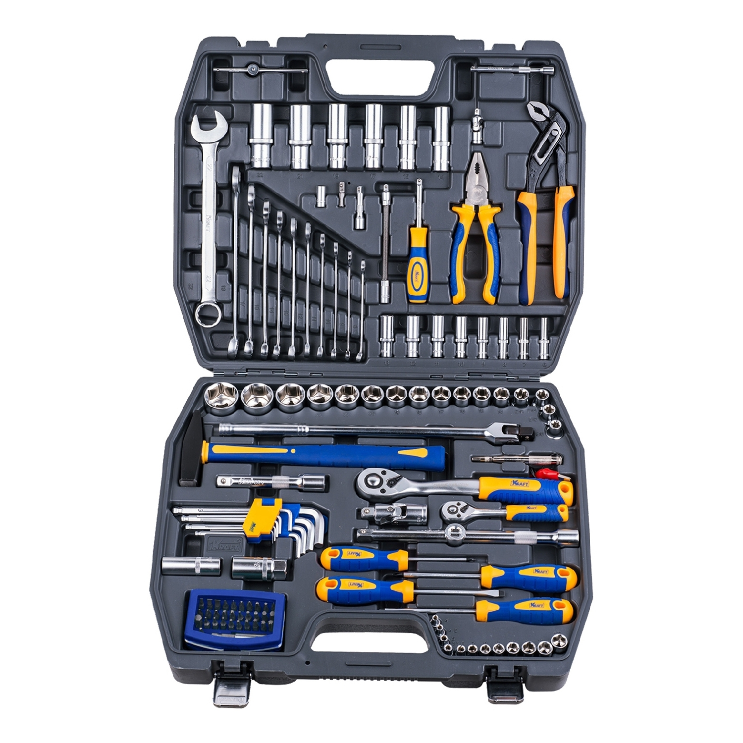 Set hand tool KRAFT CT 700679 (120 items, end head screwdriver, extension cords, end head, case) цена в Москве и Питере