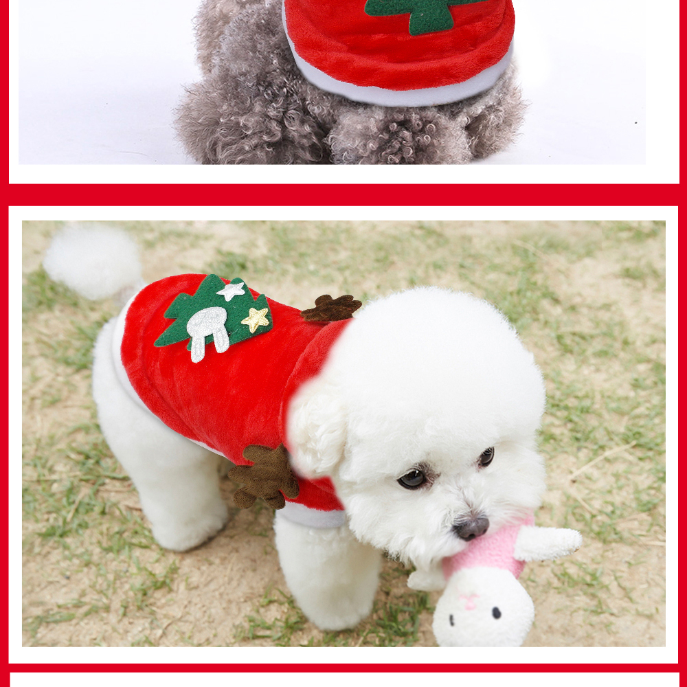 Warm Dog Jacket in Santa Claus Pattern with Hoodie and Warm Cuffs for Small Dogs 17