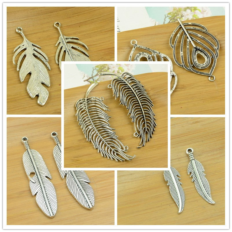 feather/plume/peacock shape alloy DIY charm pendant jewerly accessories findings antique silver bracelet necklace free shipping