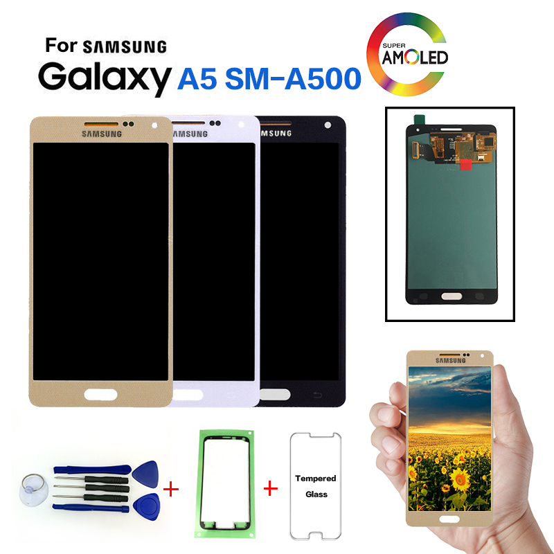 AMOLED Pour Samsung Galaxy A5 SM-A500F LCD écran de visualisation remplacement pour Samsung SM-A500FU A500G A5000 A5009 affichage module LCD