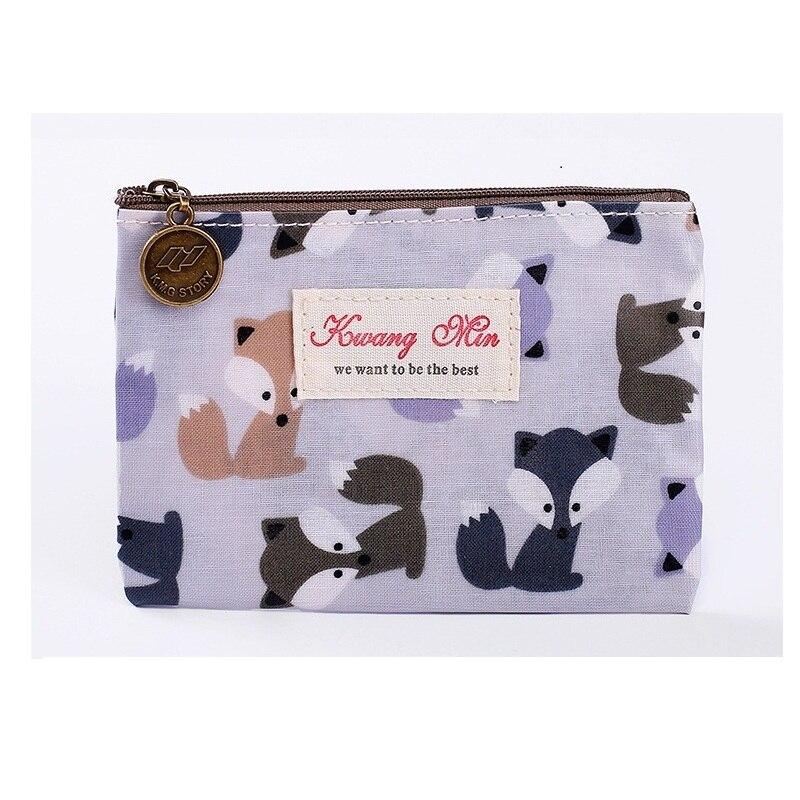 Zipper Wallet Money-Bag Fox Purse Item-Organizer Billetera-Printing Women Pouch Cute
