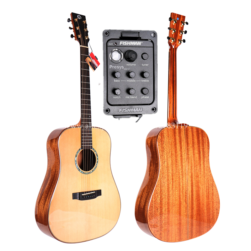 купить 41 Full Solid Electric Acoustic Guitar,With Solid Spruce Top/Solid Mahogany Body,guitars china With 20MM Thickness Cotton Bag онлайн