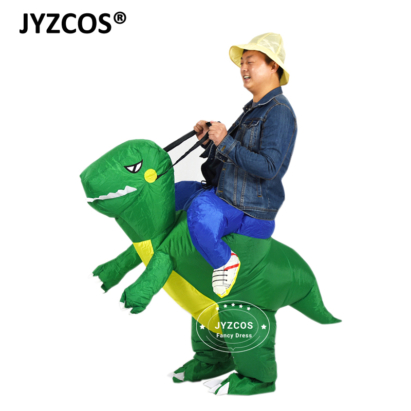 JYZCOS Women Men Inflatable T rex Dinosaur Costume Fan Operated Trex Costumes Halloween Party Fancy Dress Animal Cosplay Costume in Movie TV costumes from Novelty Special Use