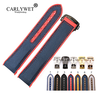 CARLYWET 20 22mm Rubber Silicone With Nylon Replacement Watch Band Strap Belt For Planet Ocean 45 42mm With Clasp
