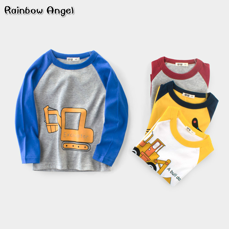 2018 Boys Clothing Kids Cartoon Excavator Long Sleeve T Shirts Boys Cotton Clothes Children Printed Tops Tees Baby Boy T Shirts цена и фото