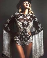 Gray Tassel Crystals Stars Bodysuit Women Stage Dance Fringes Leotard Nightclub Party Female Singer Costume Celebrate