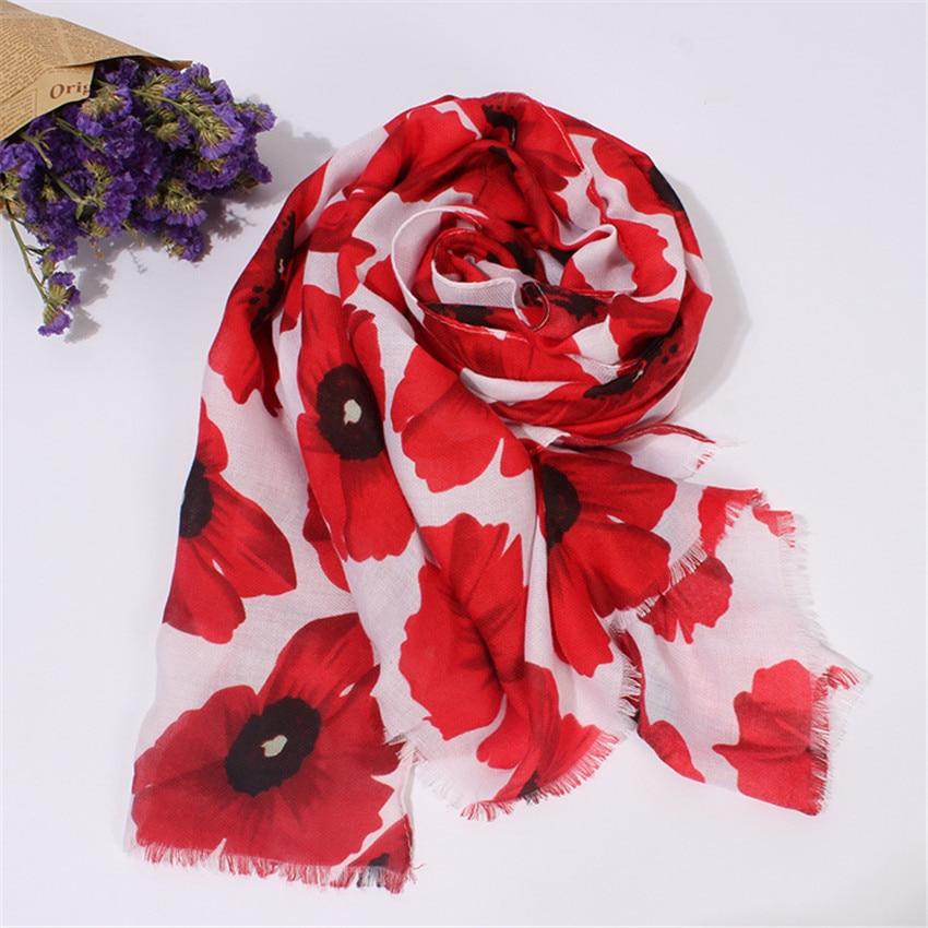 2020 Brand Women Ethnic Poppy Floral Viscose Shawl Scarf Luxury Print Fringe Foulards Sjaal Bufandas Muslim Hijab Snood 180*90Cm