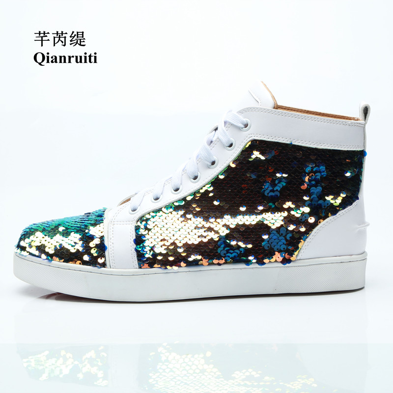 Qianruiti 2019 Men Bling Sequins Sneaker Lace-up Flat High Top Shiny Shoes Men Runway Chaussure Hommes Plus Size EU39-47