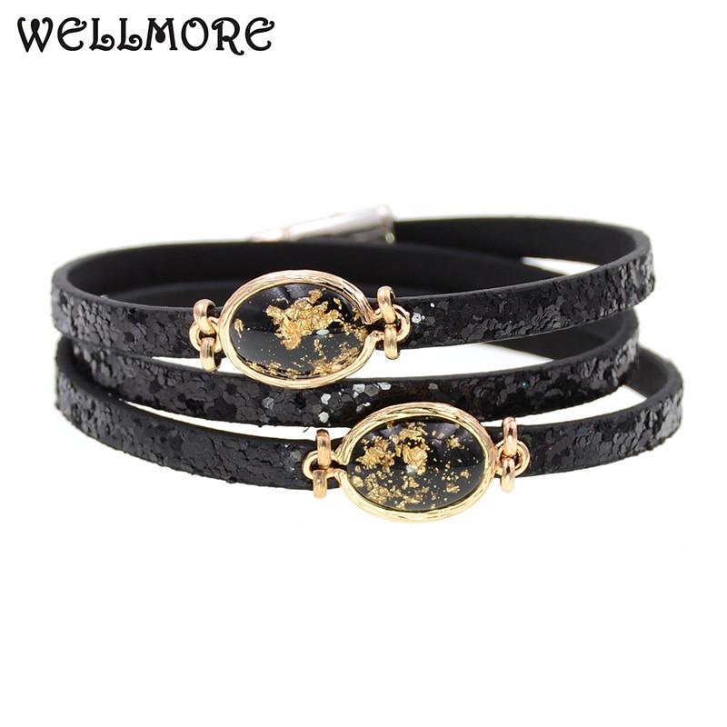 WELLMORE women bracelets 3 Layers leather bracelets charm bracelets for women jewelry wholesale drop shipping