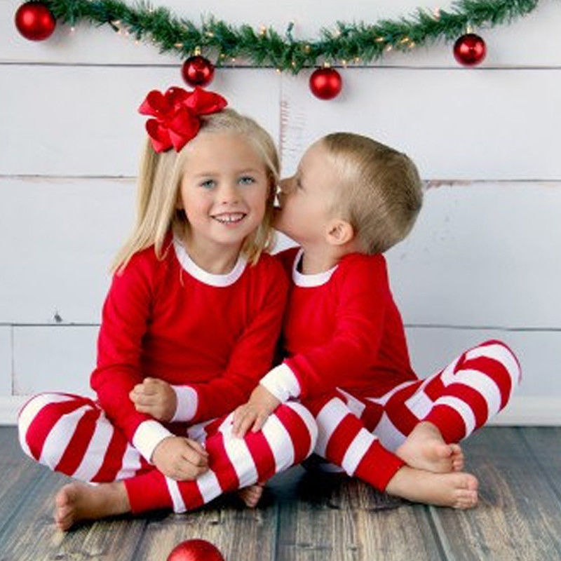 2016 Christmas Toddler Kids Clothes Long Sleeve Top Red White Strip Baby Boys Girls Pajamas Set
