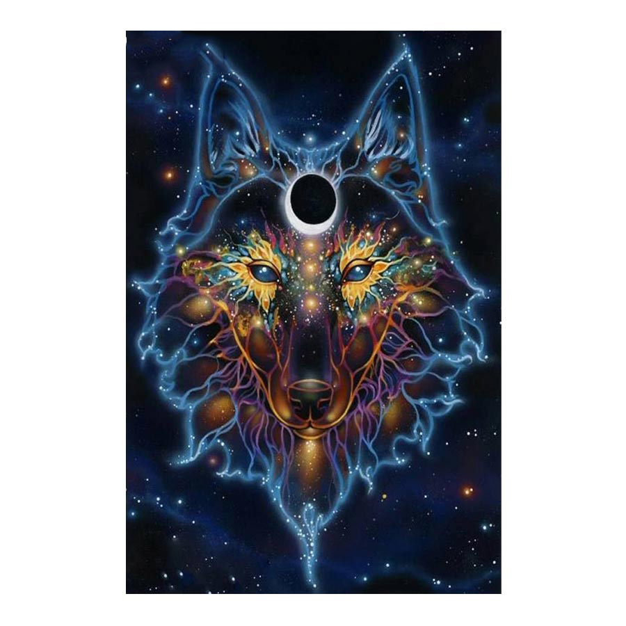 Diamond Painting Psychedelic Anime Wolf Moon 5D DIY Embroidery Rhinestones Full Chinese Mosaic Craft Hobby