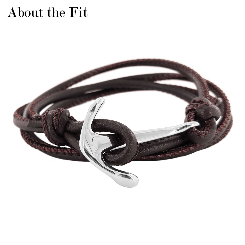 About The Fit Adjustable Leather Brace Lace Anchor Hooks Stainless Steel Clasp Wristlet Personality Adornment Bracelet Men Women