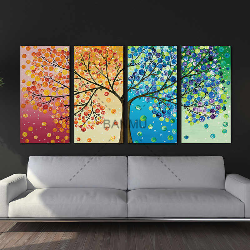 Four Season Life Tree Picture Lucky Tree Painting Tree Canvas Art Family Tree Poster Colourful Leaf Tree Spray Wall Art Painting