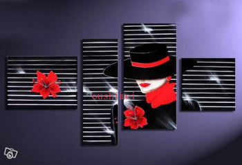 Handmade Handmade Modern Stripe Oil Painting On Canvas Hand Painted Abstract Landscape Beautiful Women Red Flower Art Picture