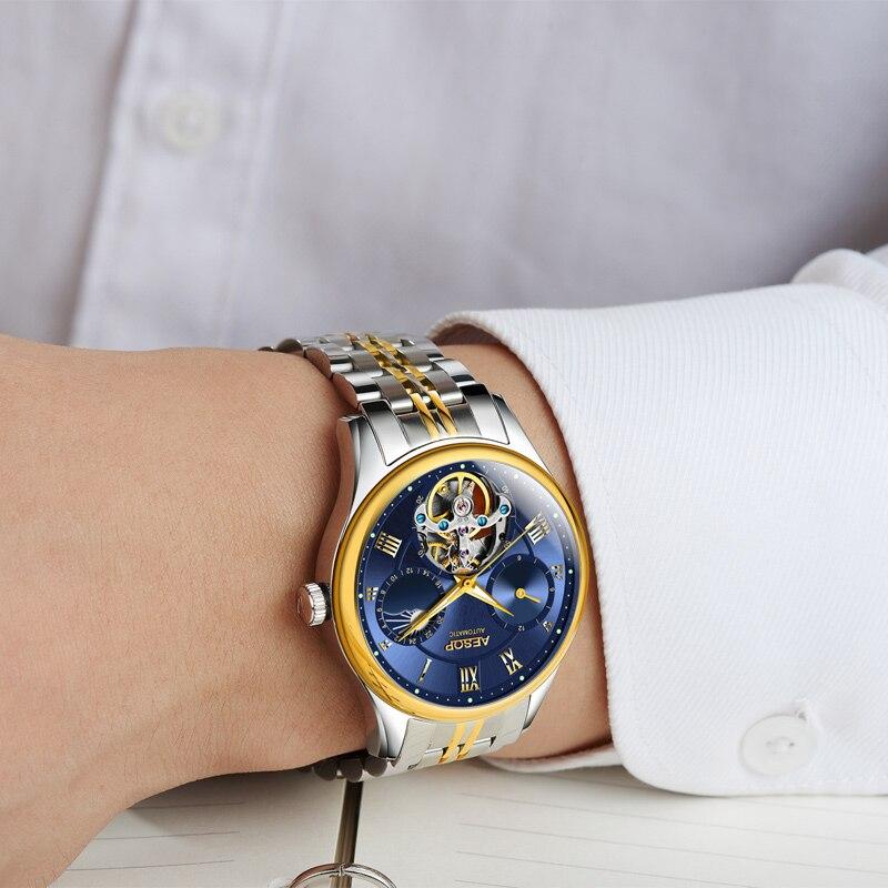 Reloj Mecánico ESOP para hombre, reloj de pulsera de zafiro de lujo, relojes luminosos a prueba de agua, reloj de pulsera de zafiro masculino, 2018-in Relojes mecánicos from Relojes de pulsera    3