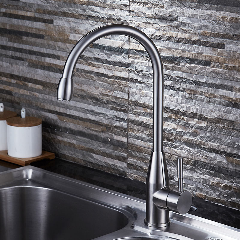 Sus304 Stainless Steel Kitchen Faucets Brushed Mixer Water: Quality SUS304 Stainless Steel Kitchen Faucet Basin Sink