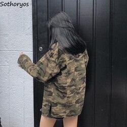 Kurtki kobiety kamuflaż skręcić w dół kołnierz pojedyncze piersi kieszenie europejski styl płaszcze damskie stracić BF Ulzzang studentów kurtka 4