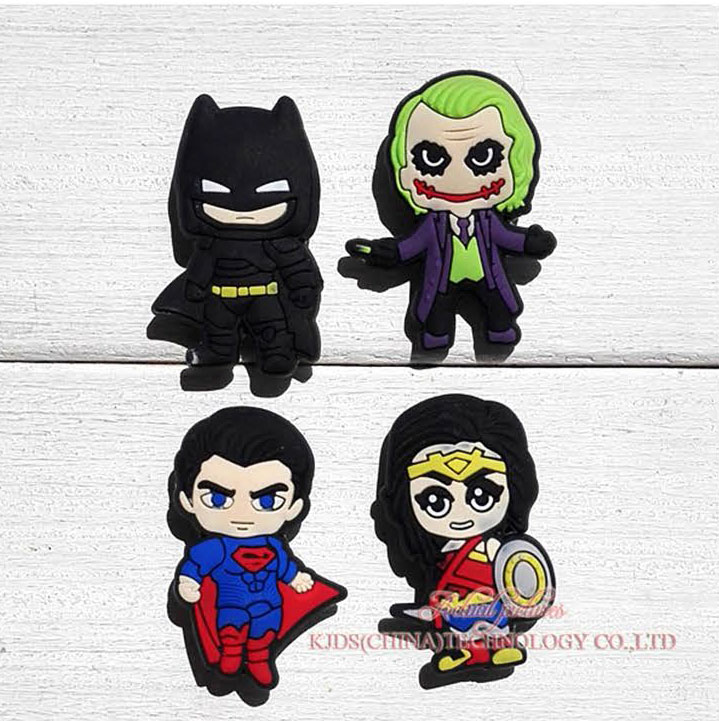 Single Sale Batman Vs Superman 1pc  PVC Shoe Charms,Shoe Buckles Accessories Fit Bands Bracelets Croc JIBZ,Kids Party X-mas Gift