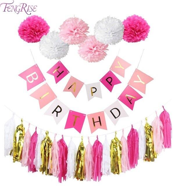 Fengrise День Рождения Декор золото папиросной бумаги кисточки помпонами для мальчиков и девочек с днем рождения баннер душа ребенка Дети сувениры вечеринок
