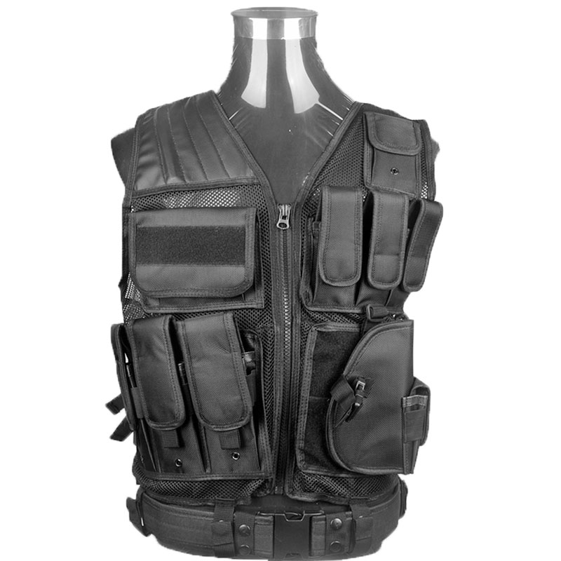 Tactical Vest Outdoor Camouflage Military Body Armor Sports Wear Hunting Vest Army Swat Molle Vest Black for Police Airsoft Hunt